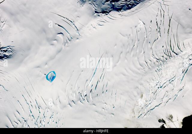 Entwässerung des supraglazialen-Sees (nach) Stockbild