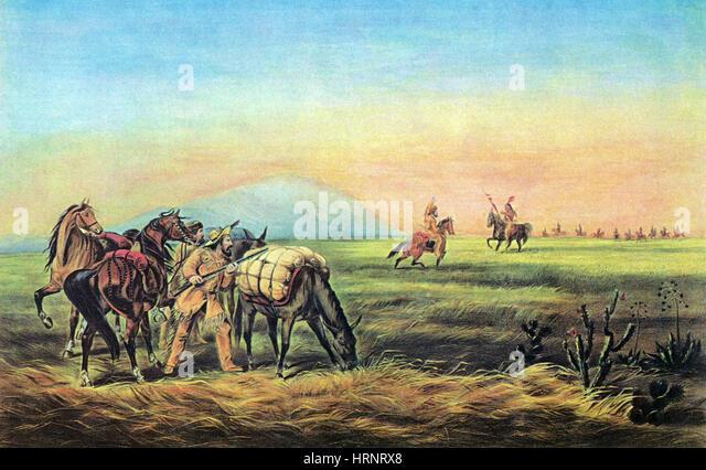 Grenzbewohnern und die amerikanischen Ureinwohner, 1800 s Stockbild