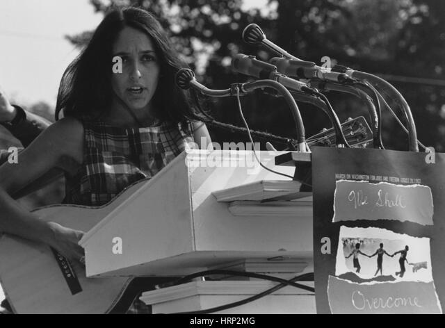 Joan Baez, Marsch auf Washington, 1963 Stockbild