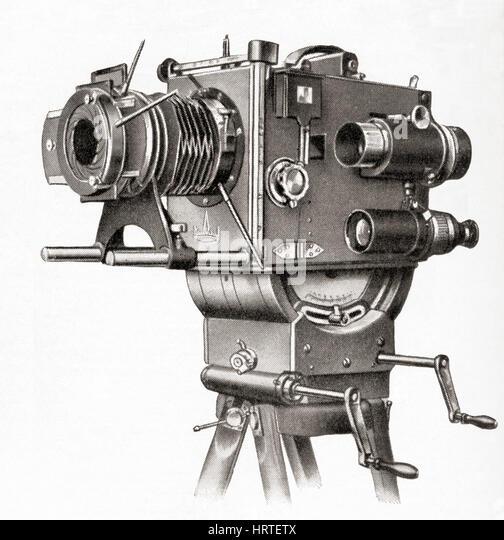 Eine professionelle Filmkamera gemacht bei Askania Werke, Berlin, Deutschland.   Aus Meyers Lexikon veröffentlicht Stockbild