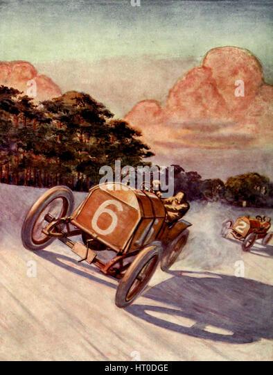 Ein Autorennen auf der Brooklands-Rennstrecke Stockbild