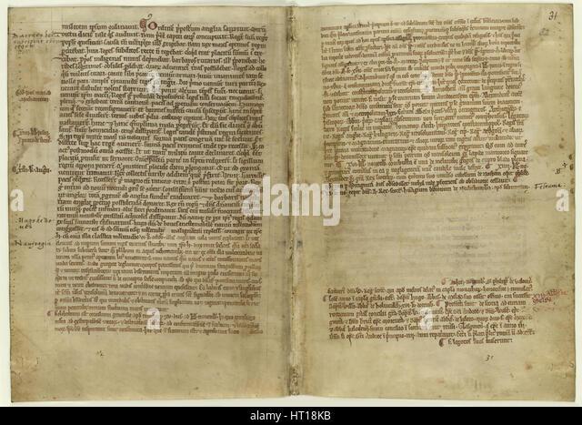 Vers-Konto der Magna Carta in der Chronik der Melrose Abbey, 1270s. Künstler: Historisches Dokument Stockbild