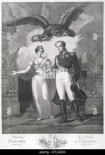 Die Allegorie des Friedens Europas, 1814. Künstler: Cardelli, Salvatore (aktive 1800 s) Stockbild