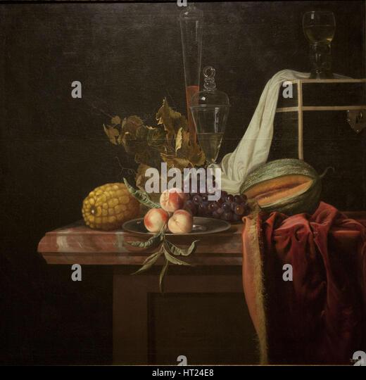 Stillleben mit Glas und Früchte, ca 1675. Künstler: Fromantiou, Henri de (c. 1633/34-nach 1693) Stockbild