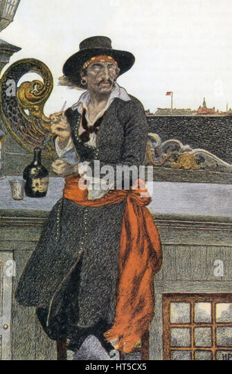 CAPTAIN WILLIAM KIDD (1654-1701-c) schottische Matrose und Pirat mit seinem Schiff Adventure Galley vertäut Stockbild