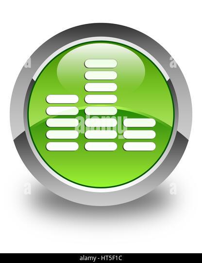 Equalizer-Symbol isoliert auf glänzende grüne runde Taste abstrakte Abbildung Stockbild
