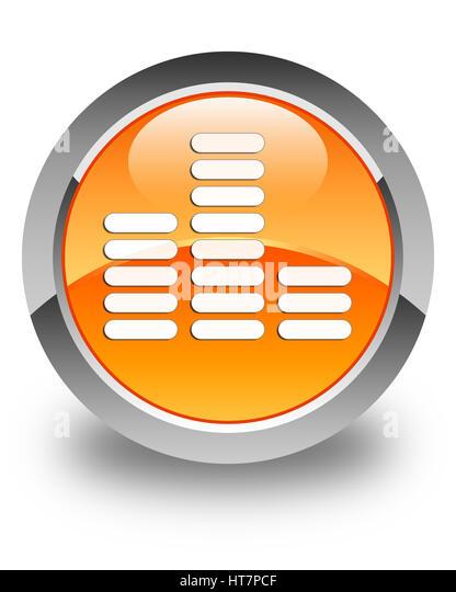 Equalizer-Symbol isoliert auf glänzend Orange Runde Taste abstrakte Abbildung Stockbild