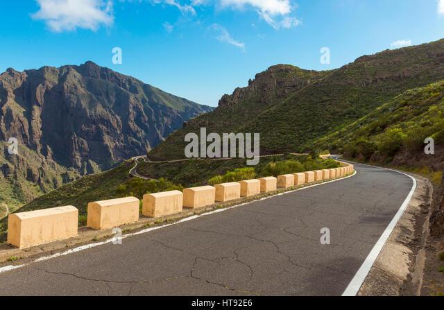 Passstraße, Teno-Gebirge, Masca, Teneriffa, Kanarische Inseln, Spanien Stockbild