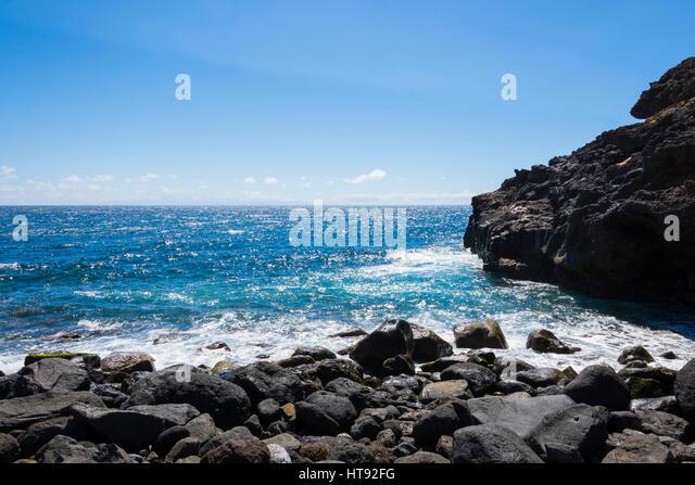 Lava Rock Küste Los Barrancos, Teneriffa, Kanarische Inseln, Spanien Stockbild