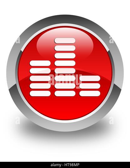 Equalizer-Symbol isoliert auf glänzenden roten runden Knopf abstrakte Abbildung Stockbild