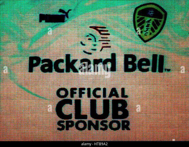 PACKARD BELL (SPONSOR) LEEDS UNITED FC 6. Februar 1999 Stockbild