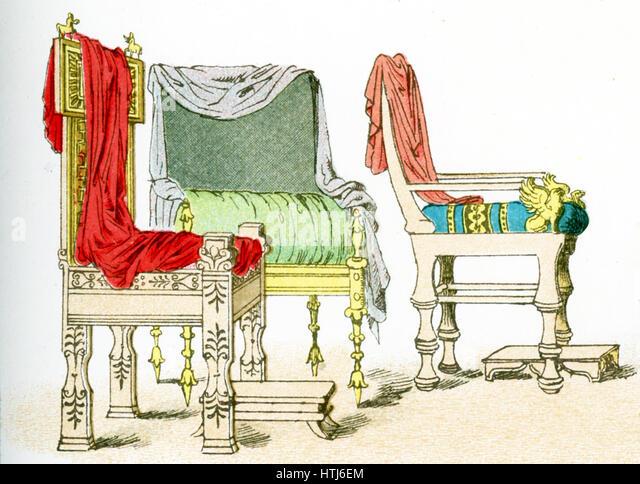 Die Abbildung hier zeigt drei antike griechischen Stühlen. Die Abbildung stammt bis 1882. Stockbild