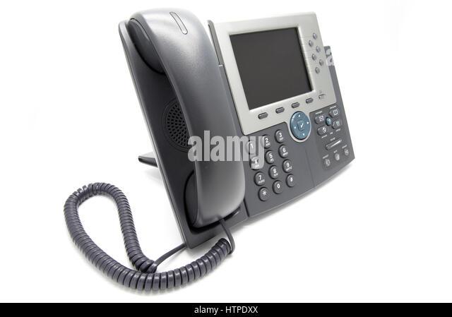 IP-Telefon auf weißem isoliert Hintergrund (Blick von der Seite) Stockbild
