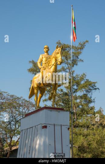 Statue von General Aung San, Magway, Myanmar Stockbild