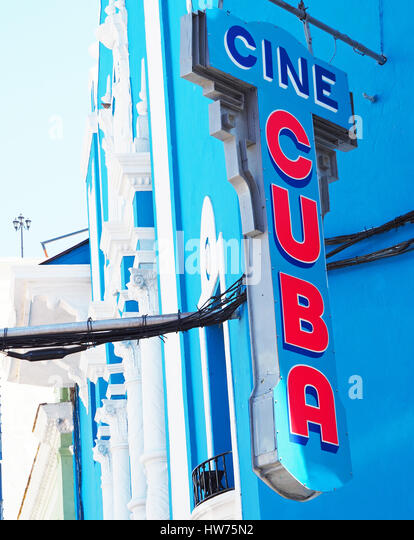 Cine-Kuba-Zeichen in Santiago De Cuba. Stockbild
