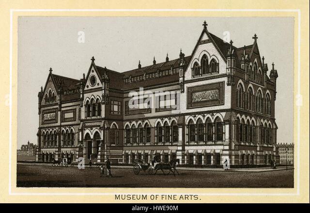 Antike 1883 monochromen Drucken aus einem Souvenir-Album, zeigt die original Museum of Fine Arts in Boston, Massachusetts Stockbild