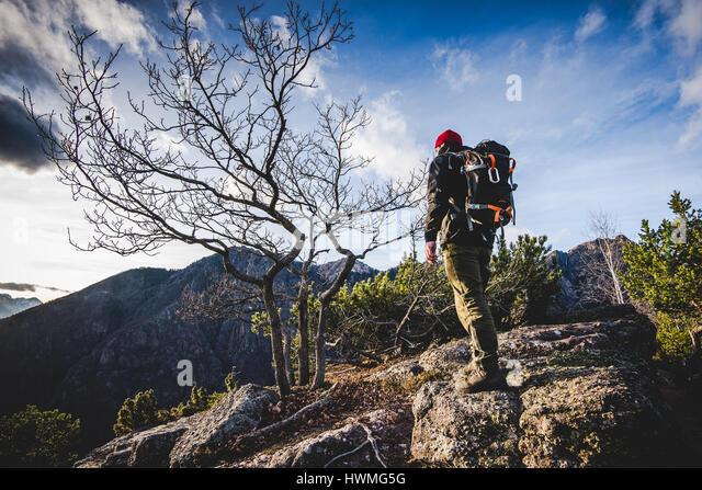 Wanderer zu Fuß auf einem Bergweg in den Wald - Fernweh Reisekonzept mit sportlichen Menschen auf der Exkursion Stockbild