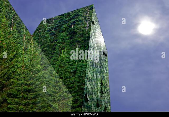 Grün, erneuerbare Energie in der Stadt: moderne Gebäude mit Fichtenwald bedeckt. Nachhaltige Energie, Stockbild