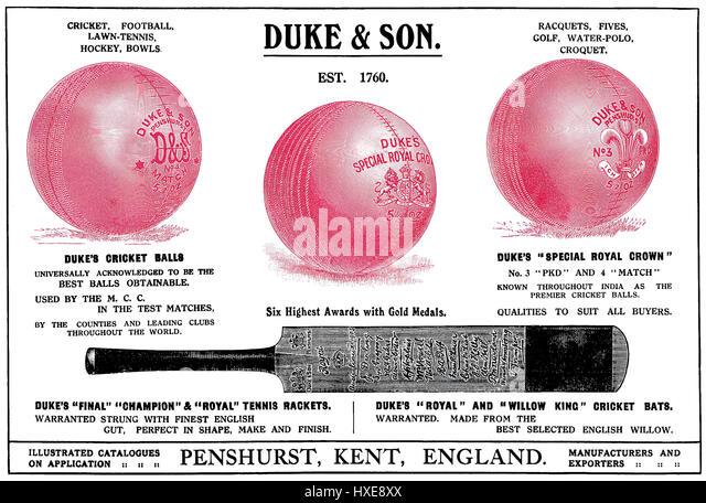 1922 indische Werbung für Duke & Son Sportgeräte. In den Zeiten von Indien jährlich, 1922 veröffentlicht. Stockbild
