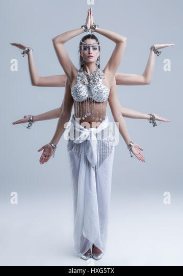 Shiva Göttin mit acht Arm posieren Stockbild