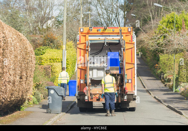 Recycling LKW Stirlingshire, Schottland Stockbild