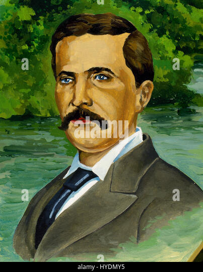 Henry Morton Stanley (1841-1904).  Britischer Journalist und Explorer. Porträt. Aquarell. Stockbild
