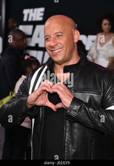 New York, USA. 8. April 2017. Vin Diesel besucht 'The Fate von The Furious' New York Premiere in der Radio Stockbild