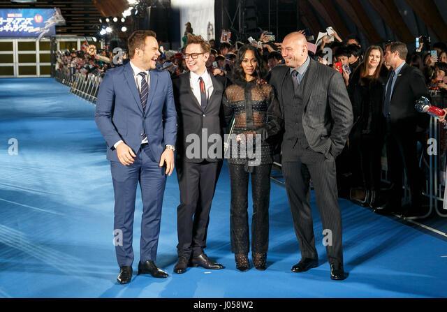 Tokio, Japan. 10. April 2017. (L, R) Schauspieler Chris Pratt, Regisseur James Gunn, Schauspielerin Zoe Saldana Stockbild