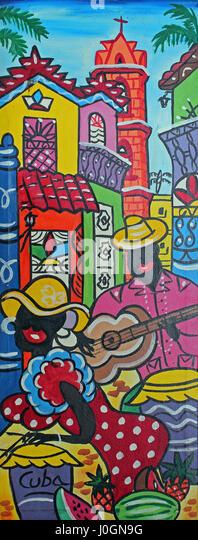 Farbenfrohe kubanische Kunst Stockbild