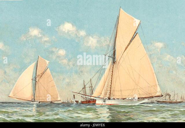 Mayflower führende Galatea in Beginn ihre letzten Rennen für die Amerikas Cup vor Sandy Hook, 11. September Stockbild