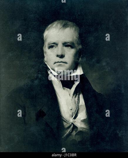 Sir Walter Scott (1771-1832), schottischer historischer Schriftsteller, Dramatiker und Dichter, Portrait, Gemälde Stockbild