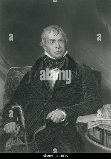 Sir Walter Scott (1771-1832), schottischer historischer Schriftsteller, Dramatiker und Dichter, Portrait, Gravur Stockbild