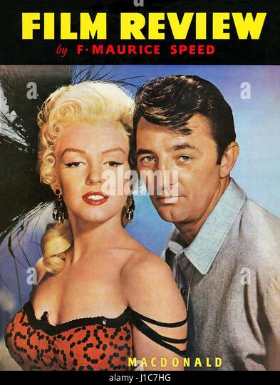 Titelseite des Buches Film Review, Volume 11 1954 / 55, mit Marilyn Monroe und Robert Mitchum in dem Film River Stockbild