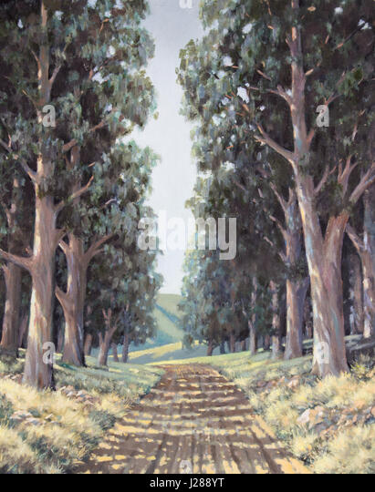 Original Ölgemälde auf Leinwand - Spur von sonnigen hohen Eukalyptusbäumen neben Landstraße Stockbild