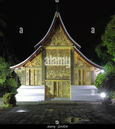 Nachtansicht der 1962 AD.built Hong Kep Mieng-Royal Funerary Chariot Hall oder Beförderung Hall oder Hor Latsalat Stockbild