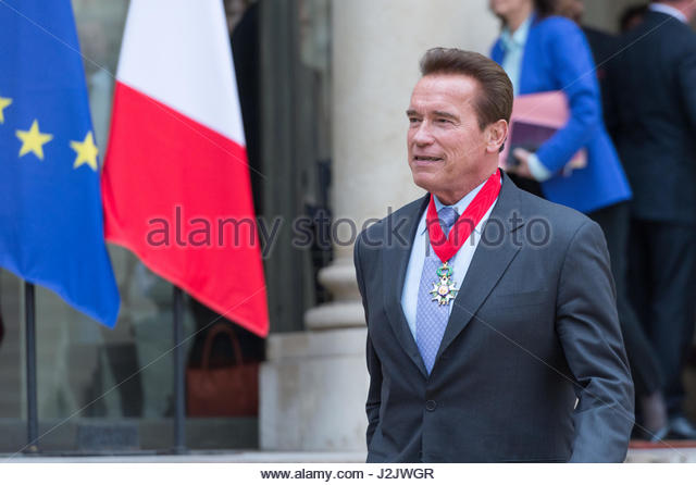 Paris, Frankreich. 28. April 2017. US-Schauspieler und ehemaliger Gouverneur von Kalifornien Arnold Schwarzenegger Stockbild