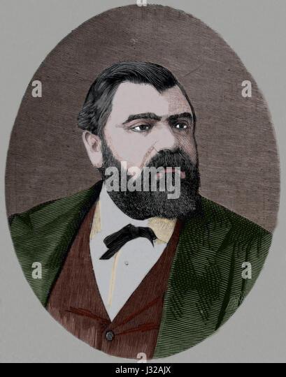 William Schaus, amerikanische Antiquar. Ein gestohlenes Bild von Murillo kehrte er in die spanische Konsul. Kupferstich, Stockbild