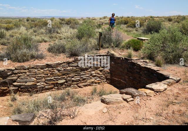 Resten von alten Wohnungen in der Painted Desert in Arizona Stockbild