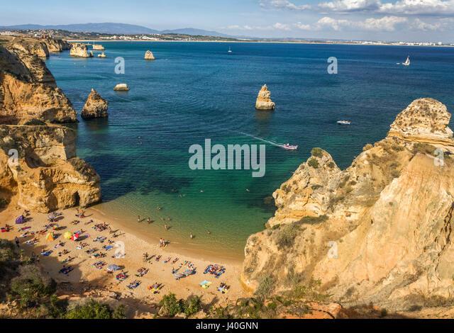 Praia da Dona Ana, Cliff, Strand, Lagos, Algarve, Portugal Stockbild