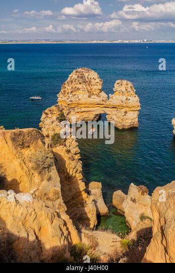 Portugal Algarve bei Lagos, Ponta da Piedade, Atlantik Küste Klippe, Stockbild