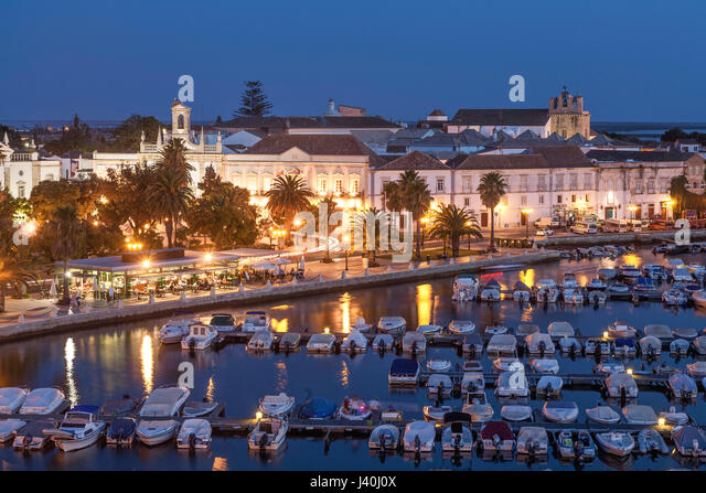 Marina und Altstadt, Faro, Algarve, Portugal, Europa Stockbild