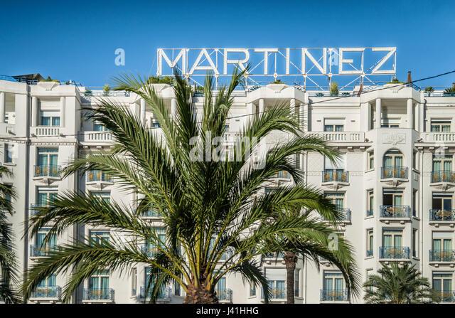 Fassade des Hotel Martinez in Cannes, Alpes-Maritimes, Cote d Azur, Frankreich Stockbild