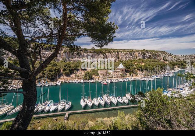 Calanque de Port Miou, Marina, Massif des Calanques, Bouches-du-Rhone, Frankreich Stockbild