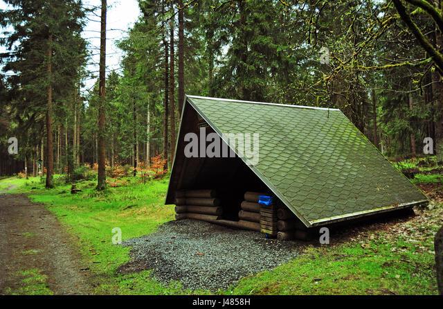 Schutzhütte am Rennsteig, Thüringer Wald, Deutschland Stockbild