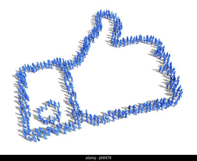 """Große Gruppe von Menschen bilden ein """"gefällt mir"""" Symbol - 3D-Illustration Stockbild"""