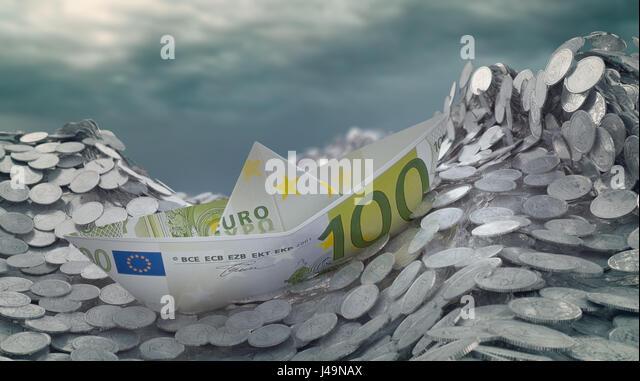 Ein Papier-Schiff gemacht aus einer Euro-Banknote Überschrift in einem Eisberg - 3d illustration Stockbild