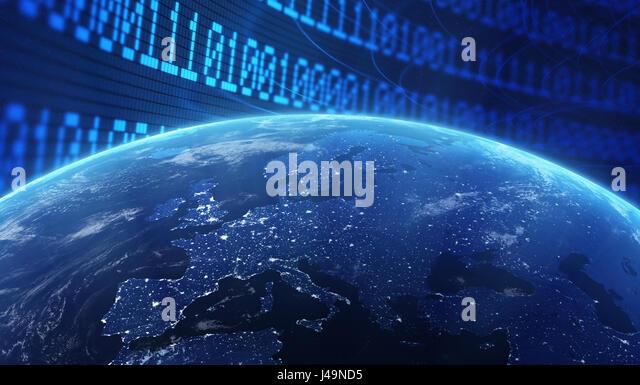 Welt mit einem binären Code-Hintergrund - Internet Konzept 3d illustration Stockbild