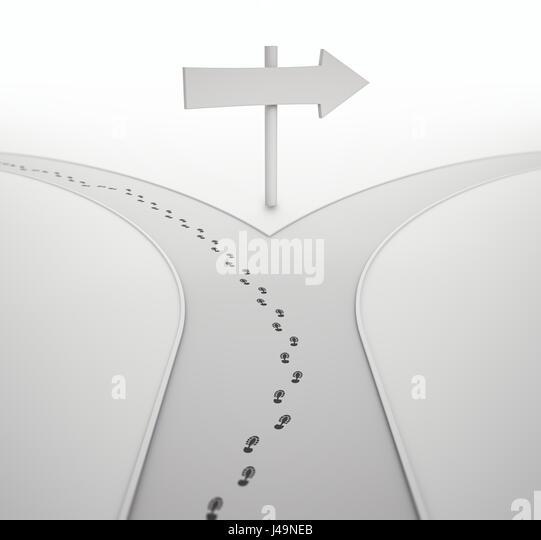 An der Kreuzung - Individualität Konzept 3D illustration Stockbild