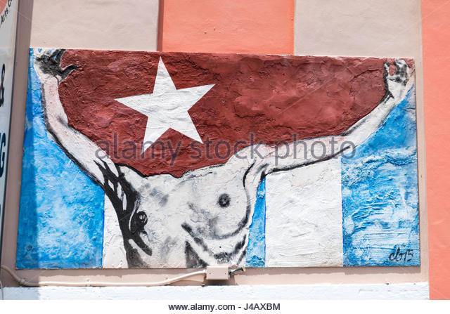 """Symbole für die kubanische Flüchtlinge und Immigranten Nostalgie in Little Havana """"Calle Ocho"""". Stockbild"""