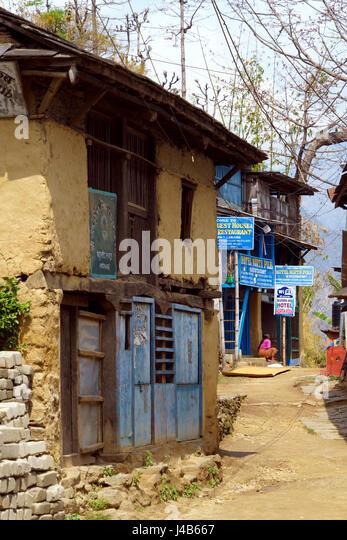 Bahundanda Dorf, Annapurna Region Nepal. Stockbild